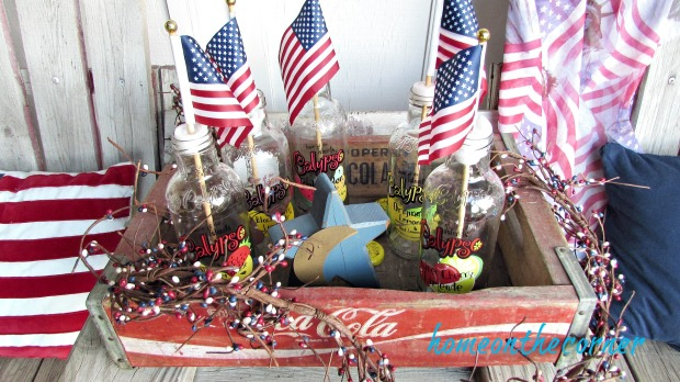 patriotic coca cola crate bottle with flags