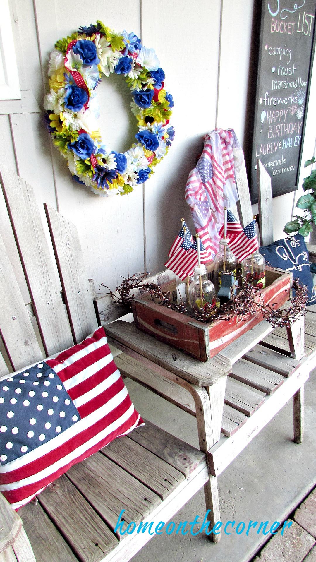 patriotic front porch bench