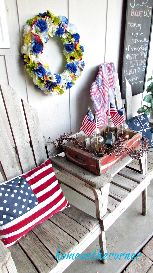 patriotic front porch bench