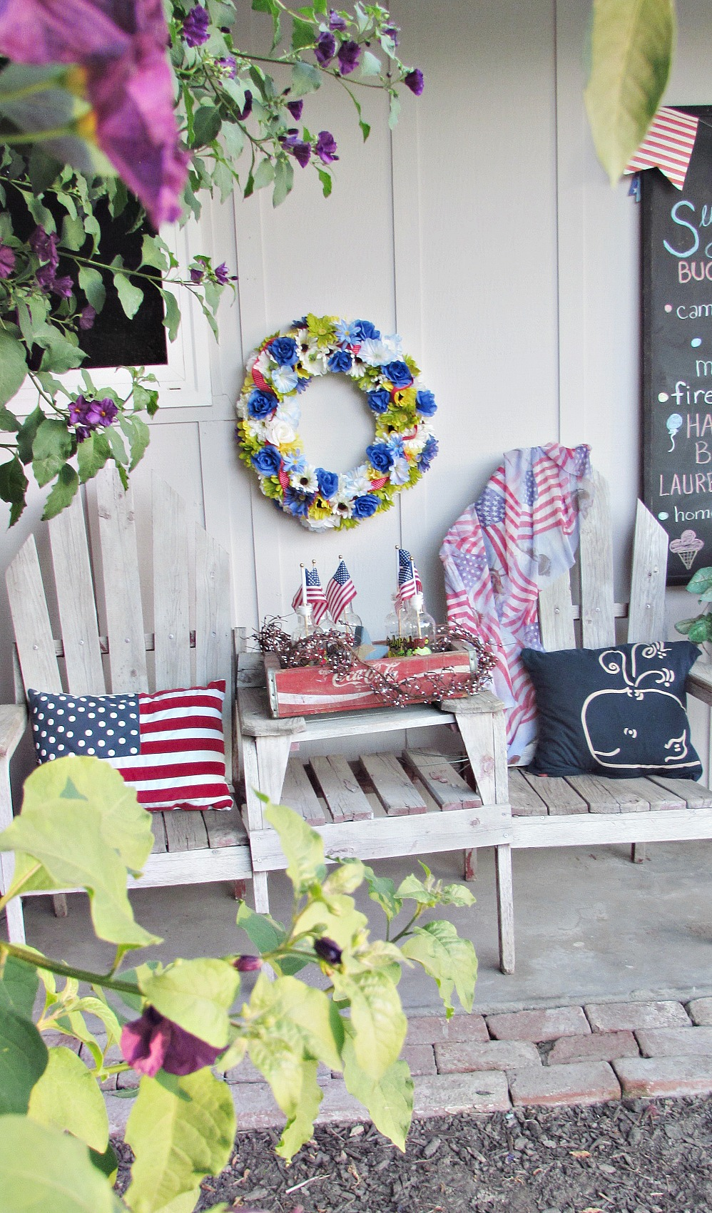 patriotic porch bench flowers