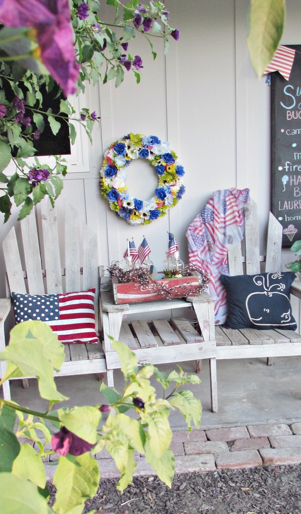 patriotic porch bench flowers