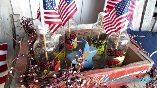patriotic porch calypso bottles and flags