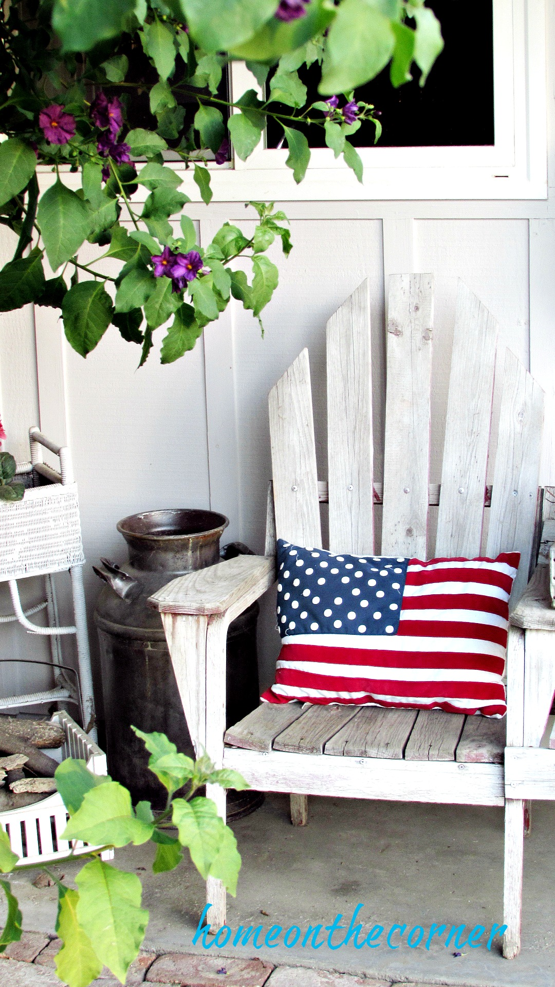 patriotic porch flag pillow milk can