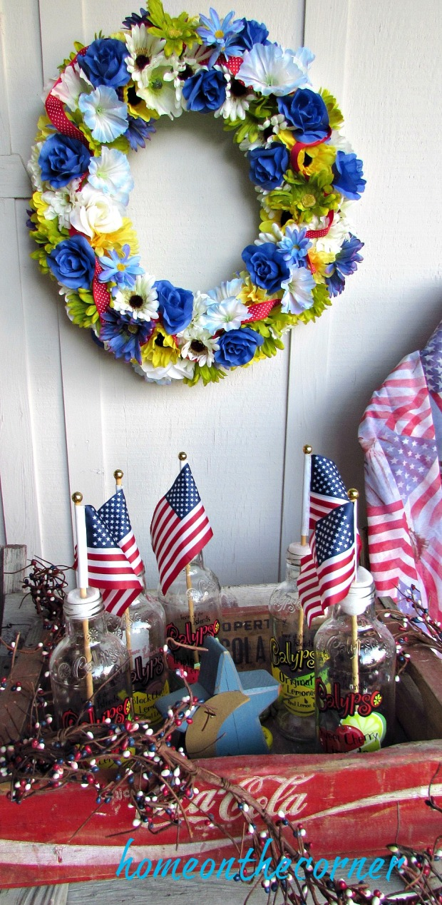 patriotic porch flags and wreath