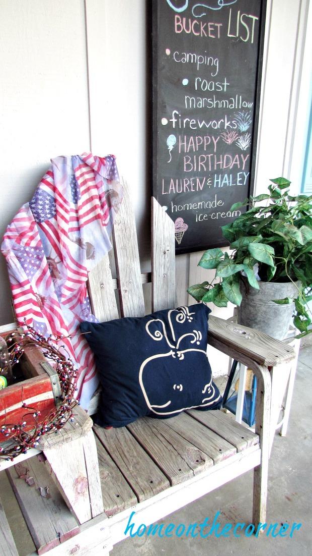 patriotic porch whale pillow chalkboard