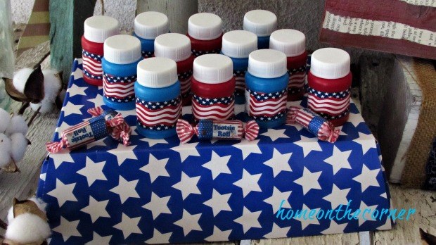 patriotic red white blue bubble bottles