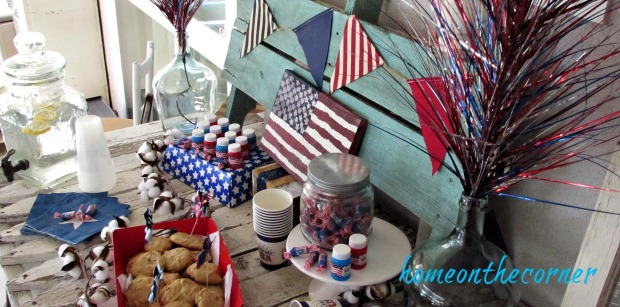 patriotic snack table red white and blue flags