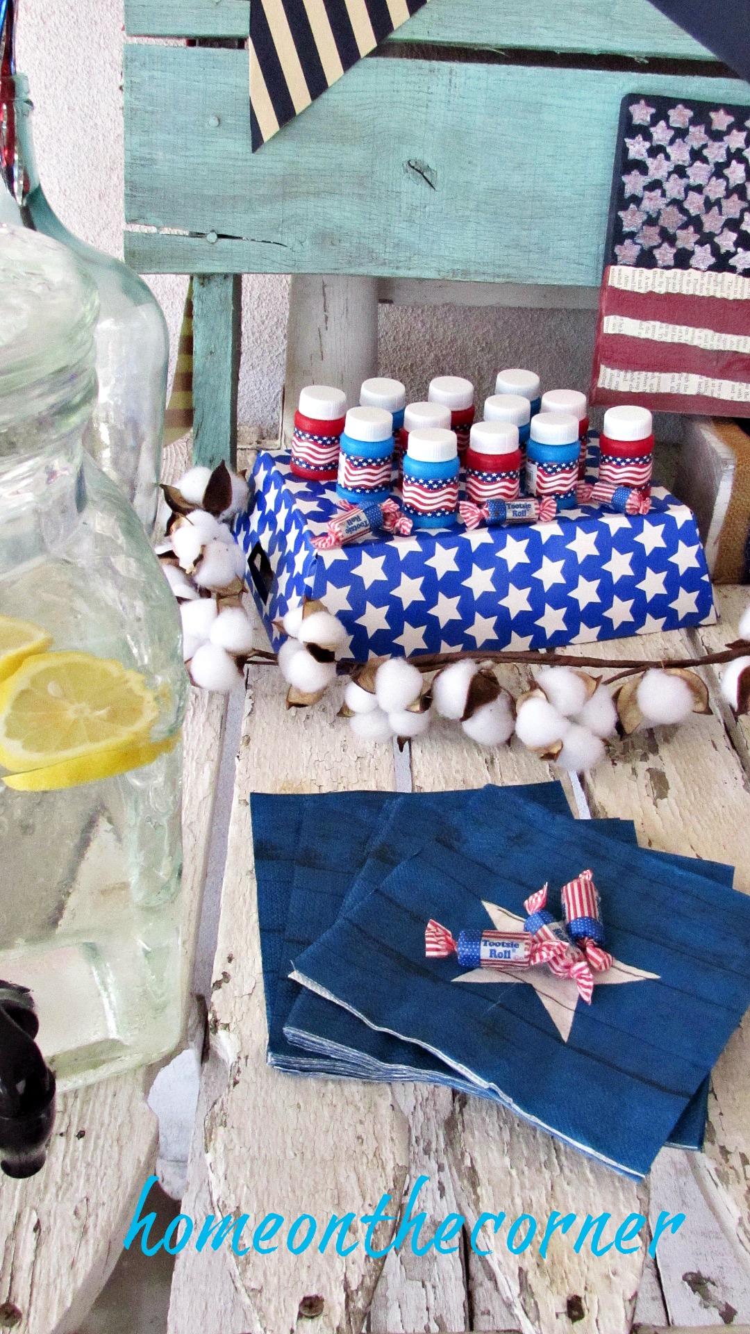 patriotic star napkins cotton bubbles
