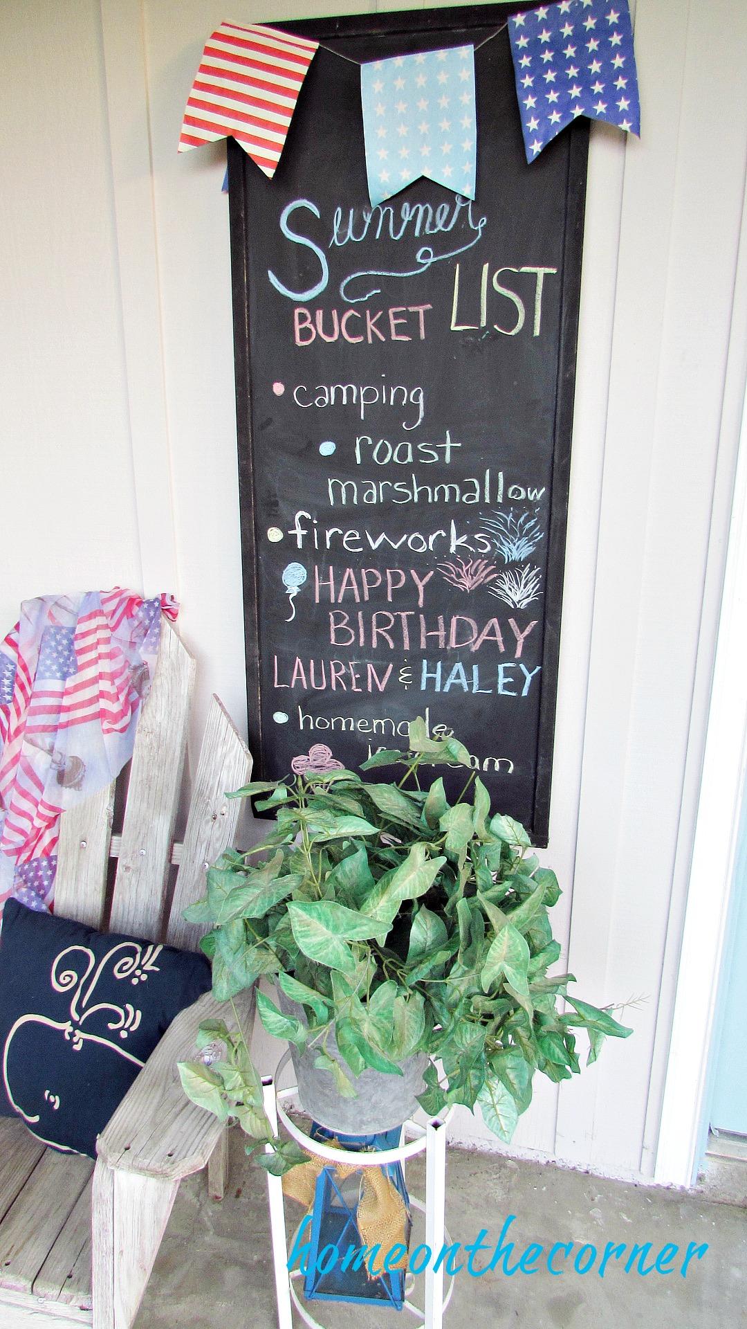 patriotic summer bucket list chalkboard
