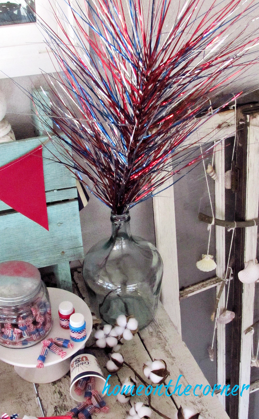 patriotic table red white and blue