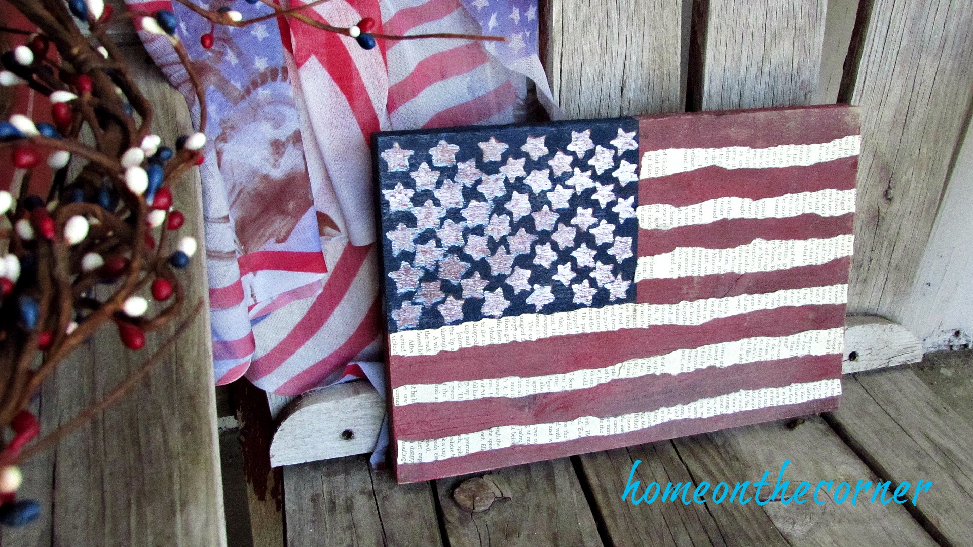wooden flag book pages stripes