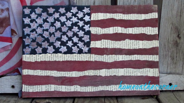 wooden flag sticker stars and book page stripes
