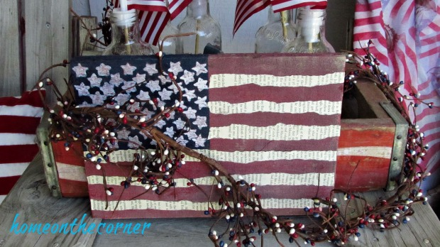 wooden flag with garland