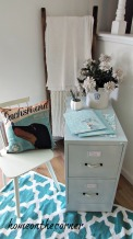 filing cabinet makeover files, chair, pillow