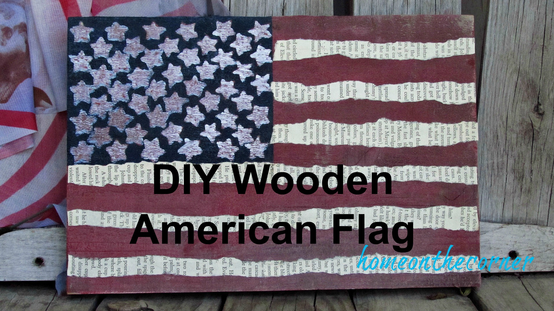 wooden flag sticker stars and book page stripes title
