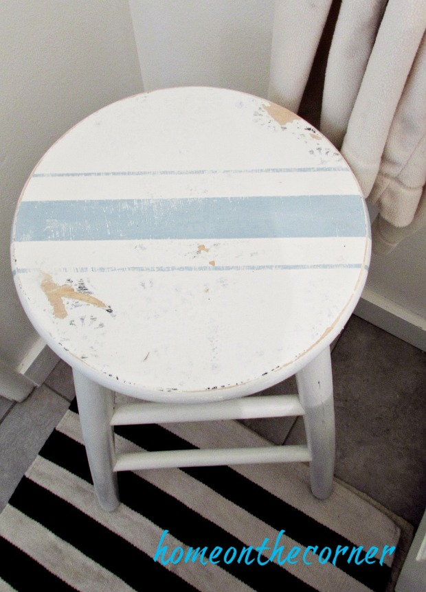 bar stool beachy blue and white stripe