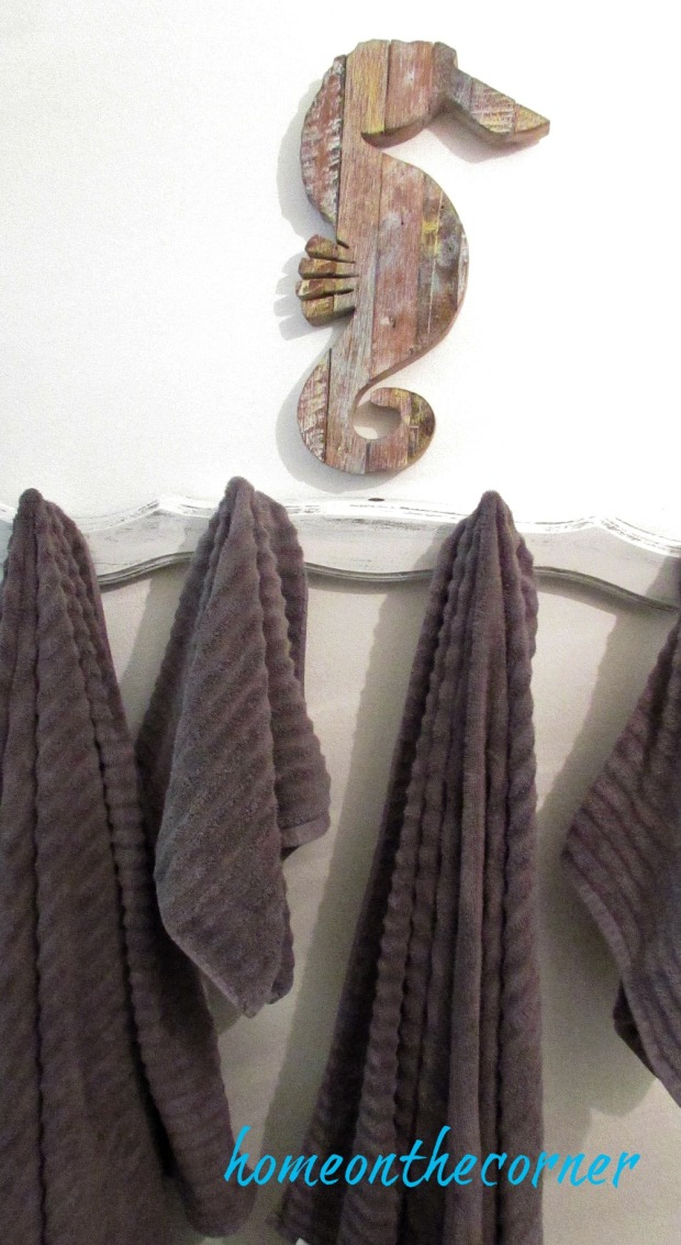 Master bathroom grey towels
