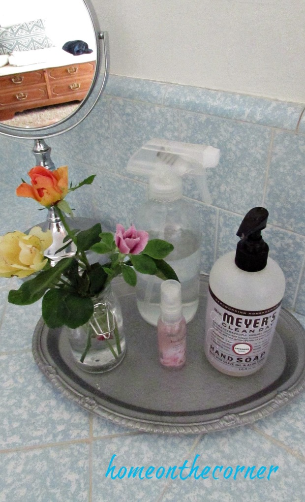 master bathroom makeover roses silver tray