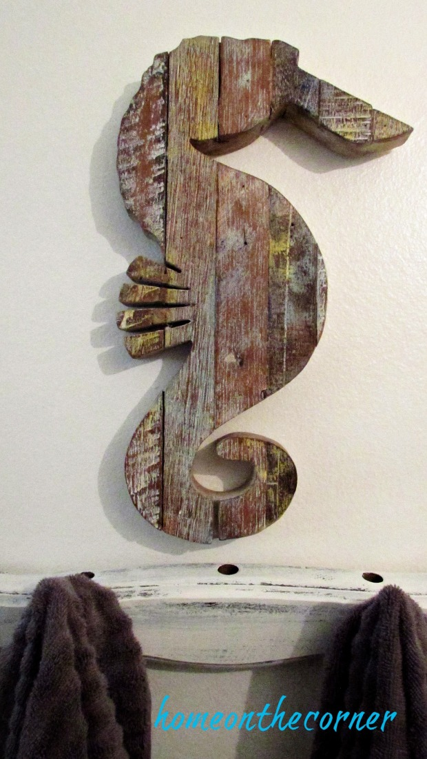 master bathroom makeover wooden seahorse