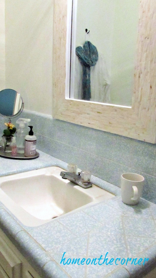 master bathroom shell mirror