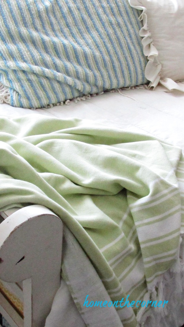 fall 2017 living room green blanket daybed