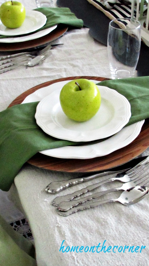 fall dining room green apples