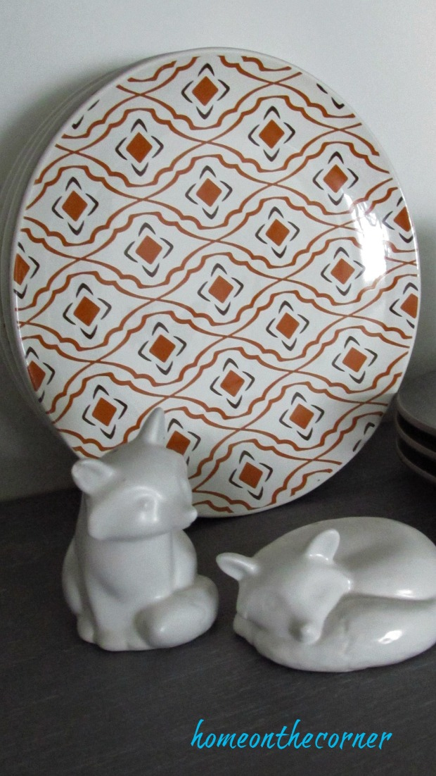 fall dining room orange and white foxes