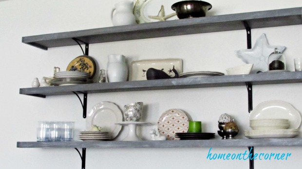 fall dining room shelves with dishes