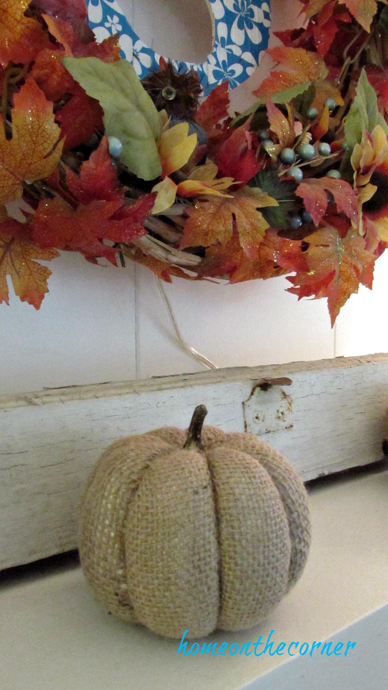 fall family room burlap pumpkin