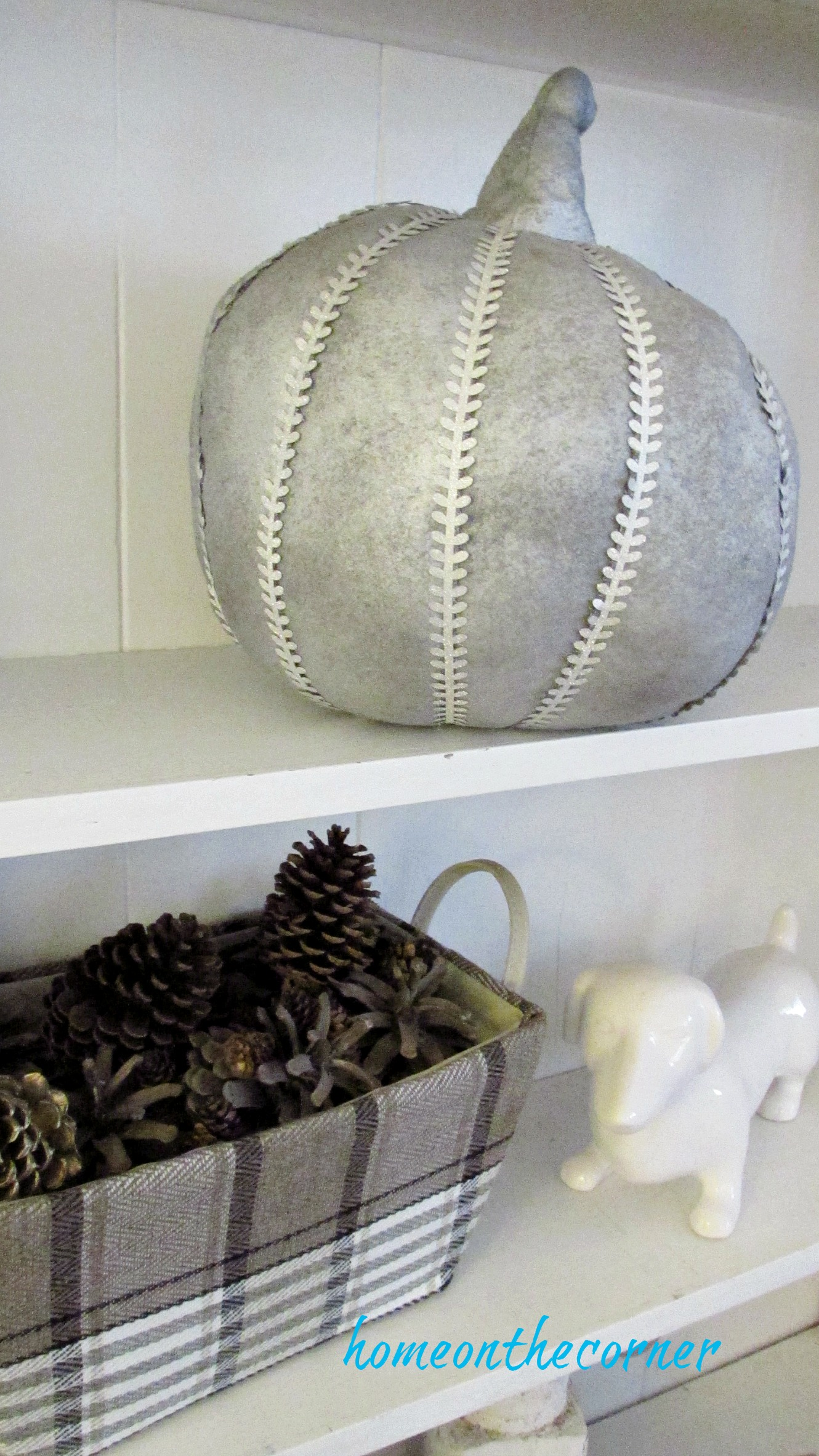 fall family room silver pumpkin pinecones
