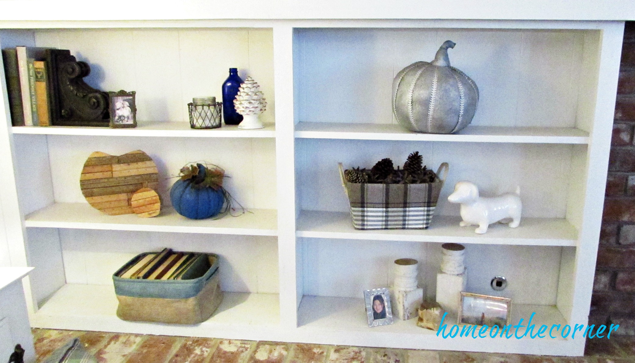 fall family room styled book shelves