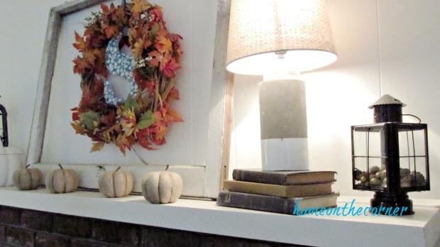 fall family room window pumpkins