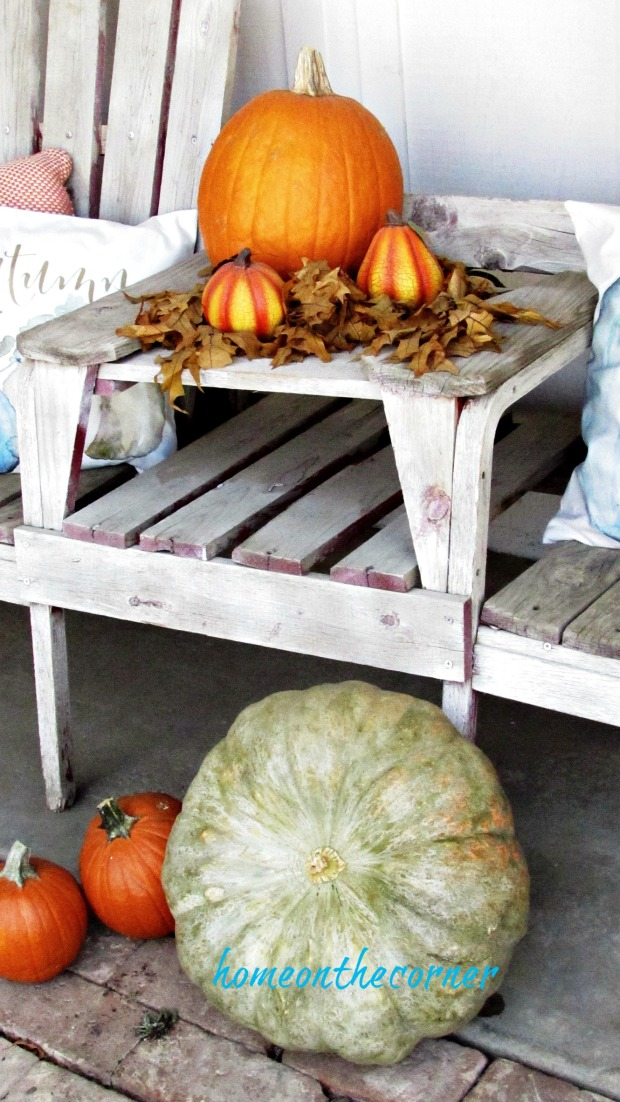fall porch 2017 orange and green pumpkins