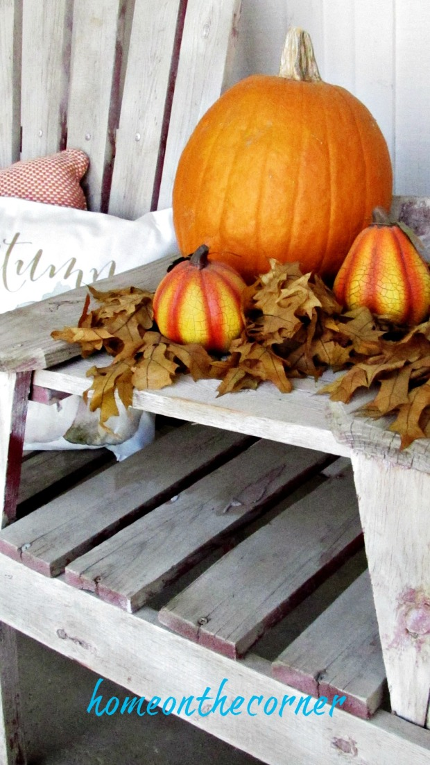 fall porch 2017 trio of pumpkins