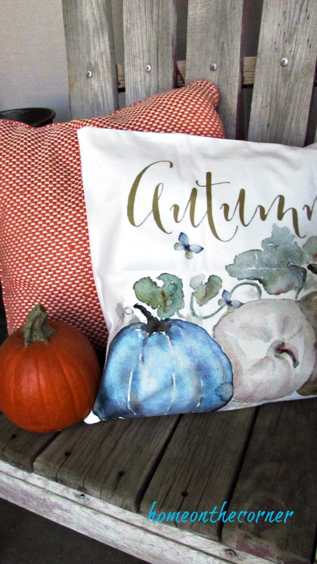 fall porch autumn blue pumpkin pillow