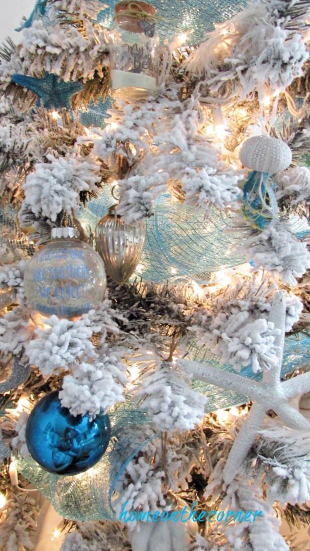 christmas 2017 beachy flocked tree blue silver
