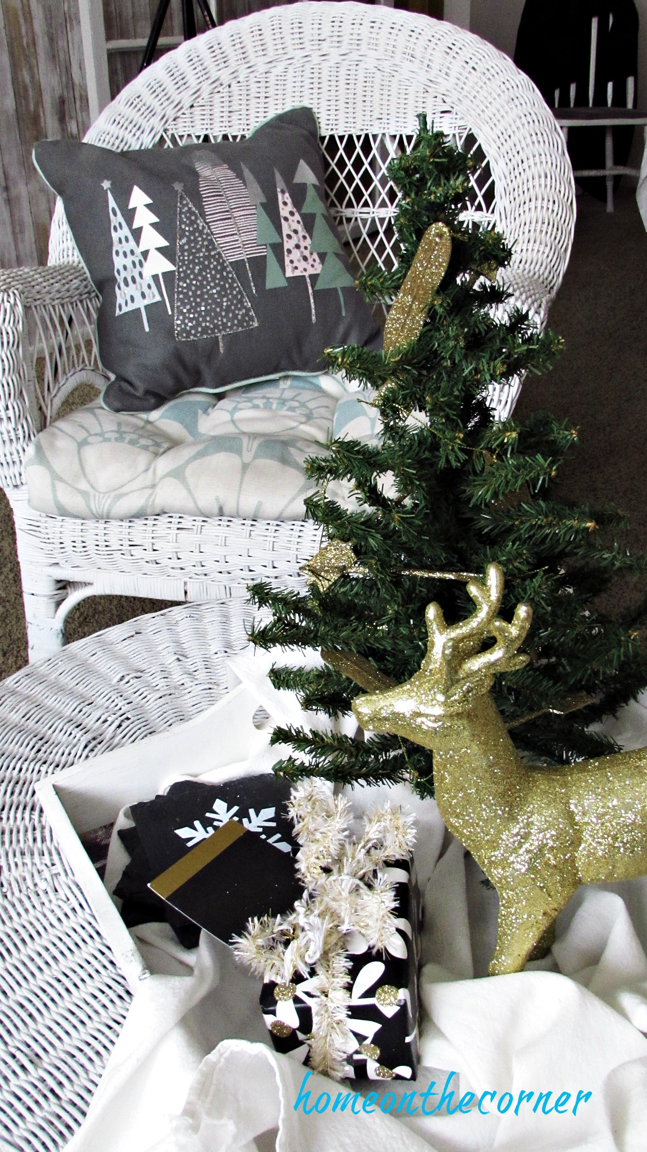 christmas 2017 beachy golden deer tree pillow