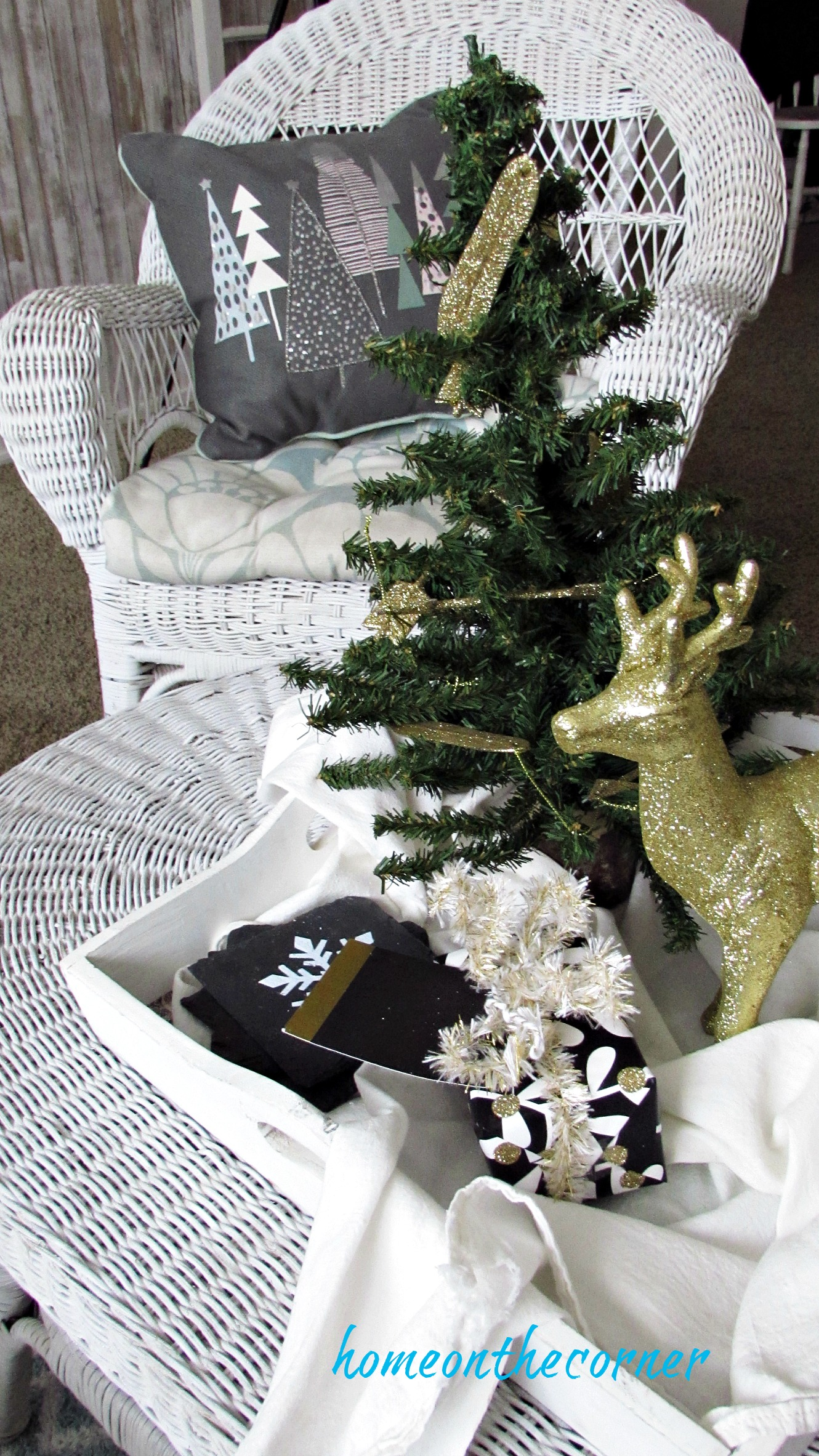 christmas 2017 coffee table vignette gold deer