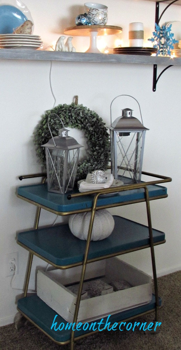 christmas 2017 dining room bar cart lanterns turquoise