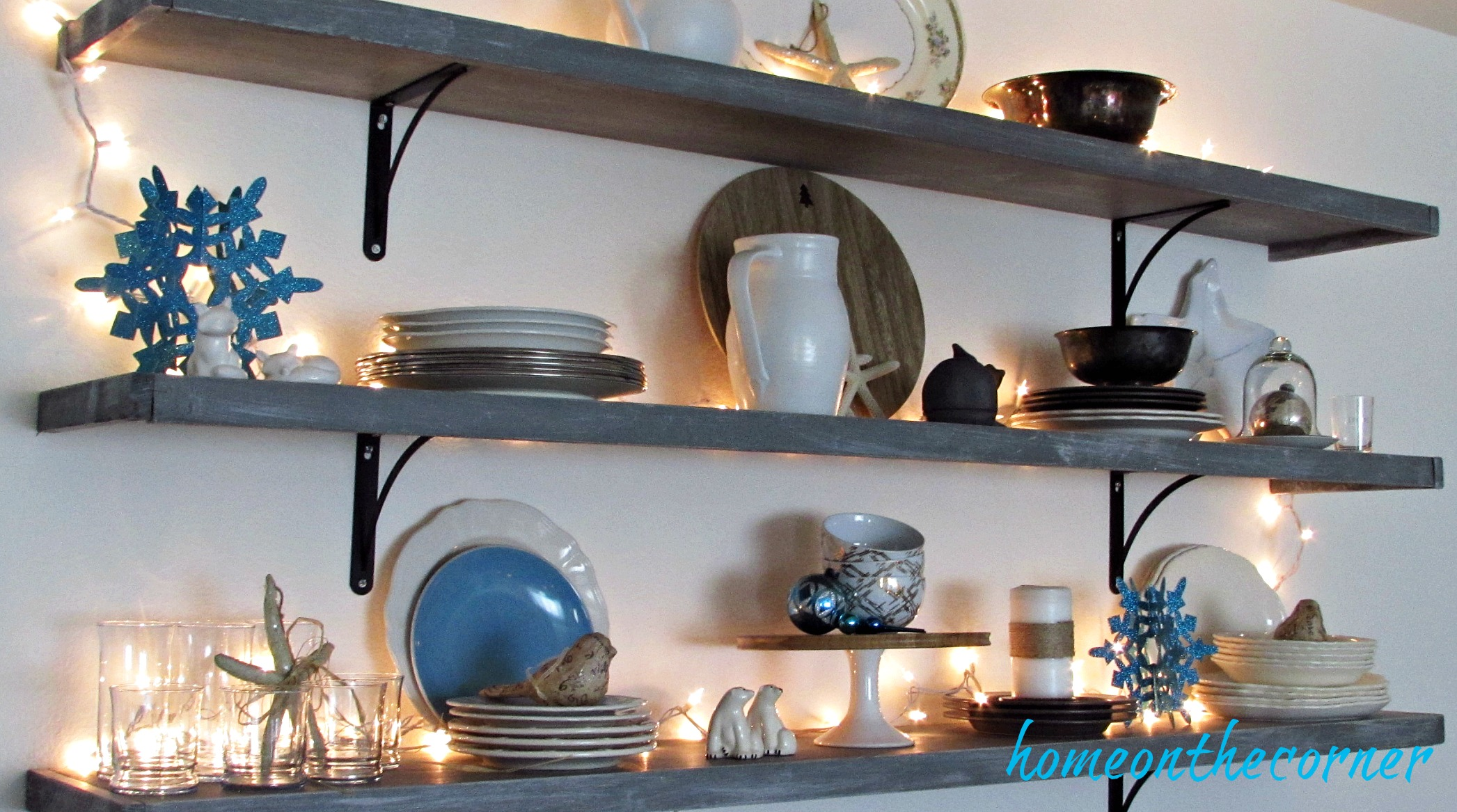 christmas 2017 dining room shelves dishes turquoise and white