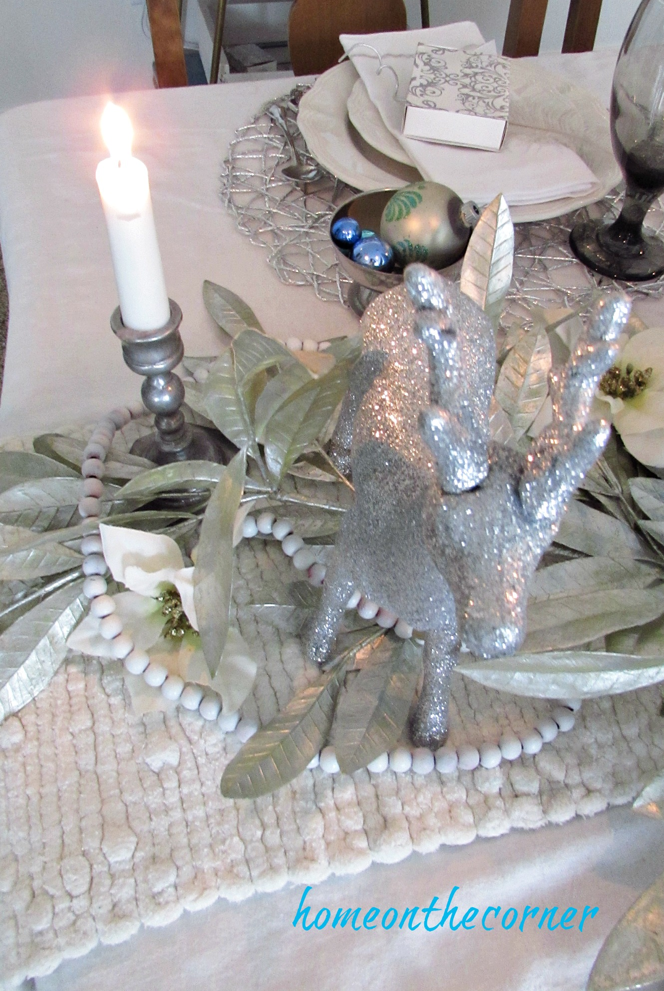 christmas 2017 dining room silver deer candlelight