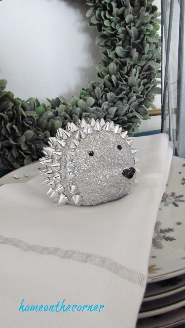 christmas 2017 dining room silver hedgehog