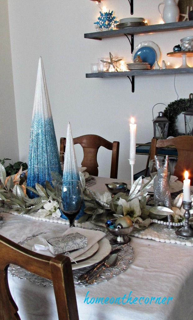 christmas 2017 dining room tablescape turquoise and white silver and gold