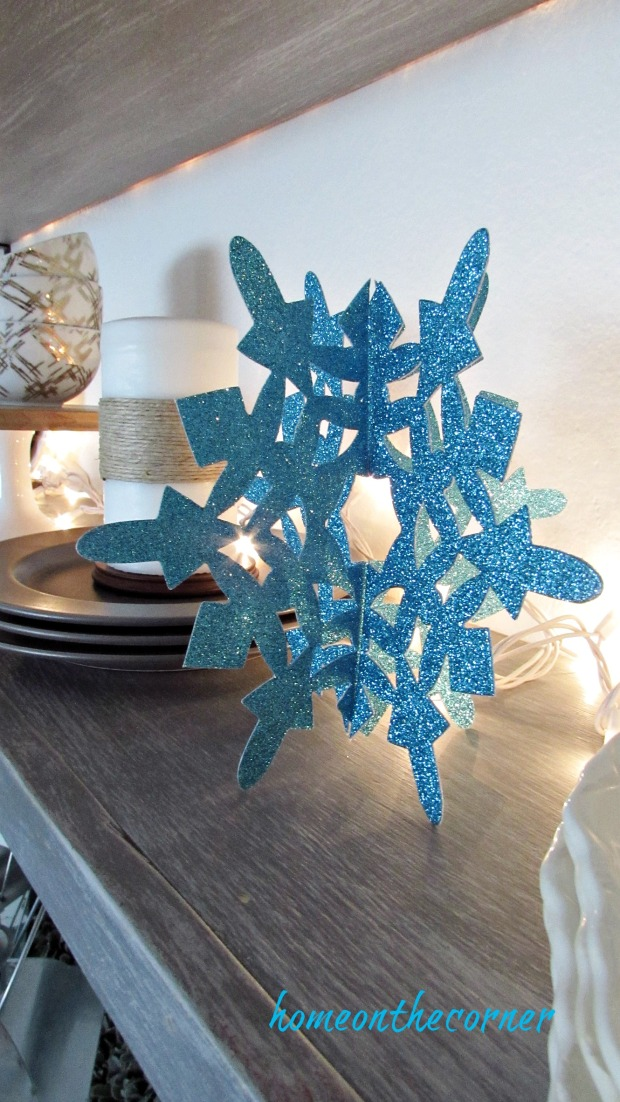 christmas 2017 dining room turquoise snowflake