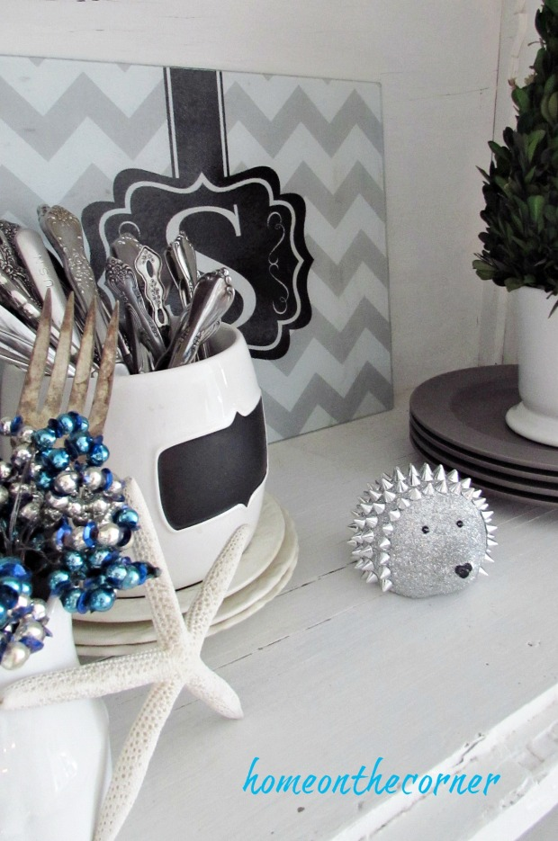 christmas 2017 dining room white hutch dishes