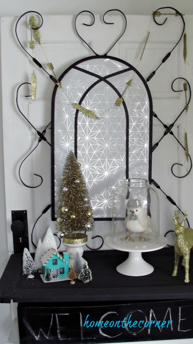 christmas 2017 entryway silver and gold welcome