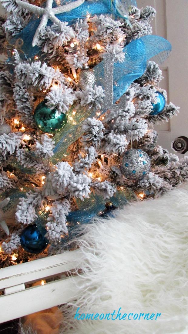 christmas 2017 flocked white tree coastal beach turquoise