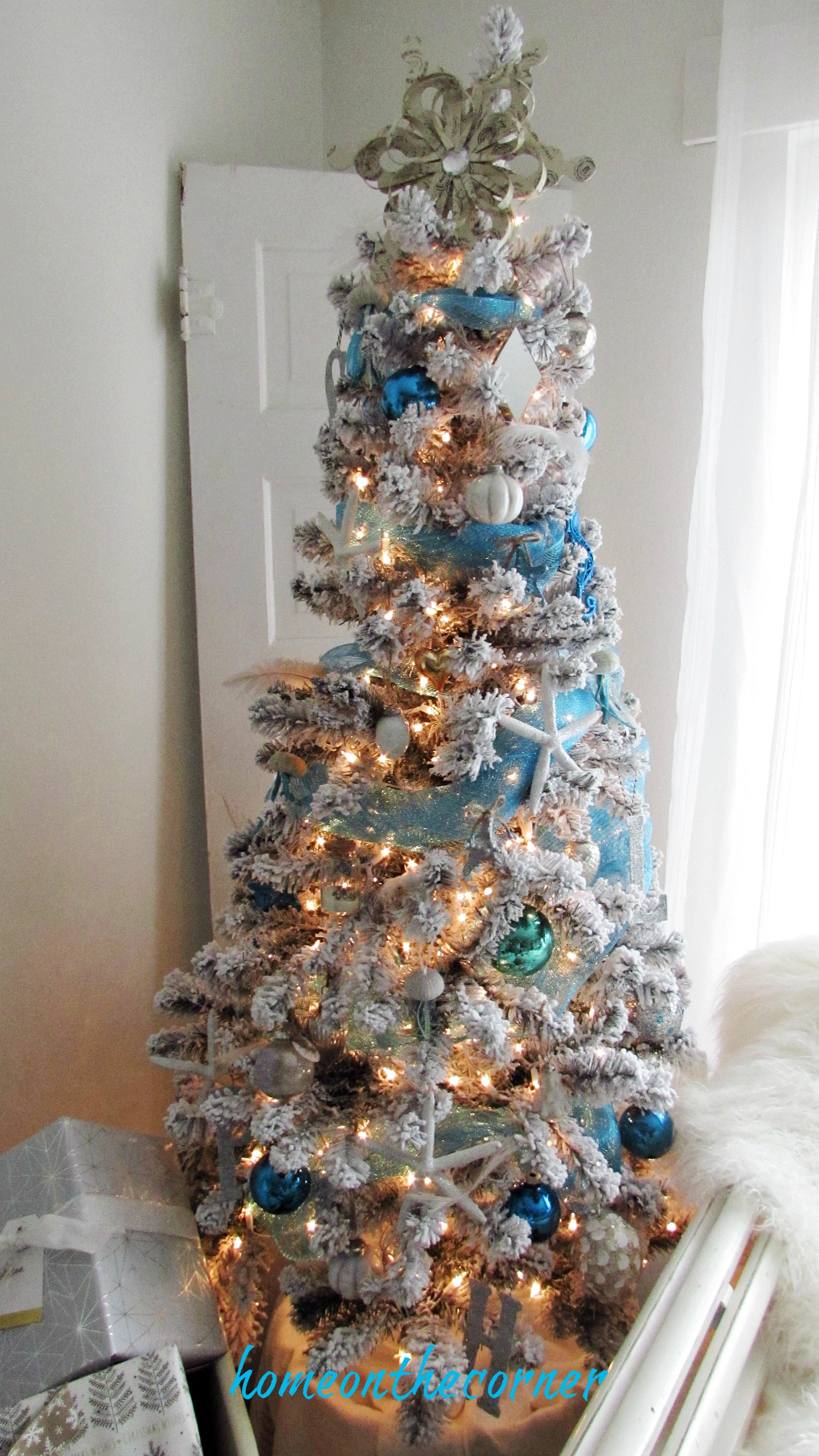 christmas 2017 white flocked beach tree turquoise and white