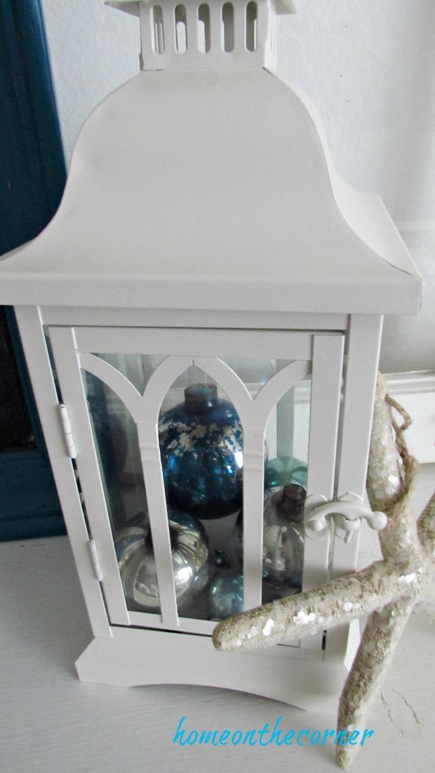 christmas 2017 white lantern, turquoise ornaments
