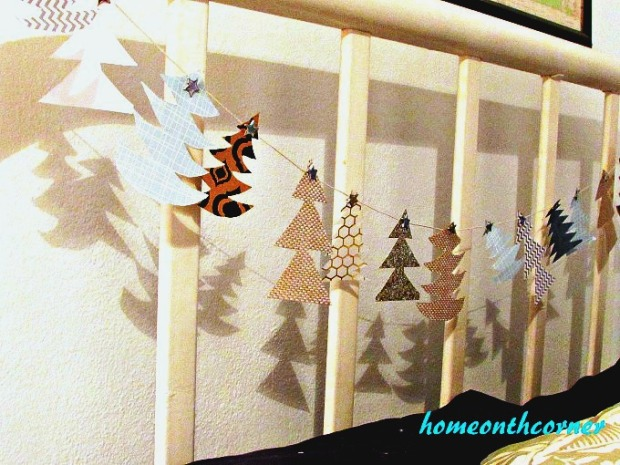 Christmas Tree Garland Wonky Trees Headboard 2017